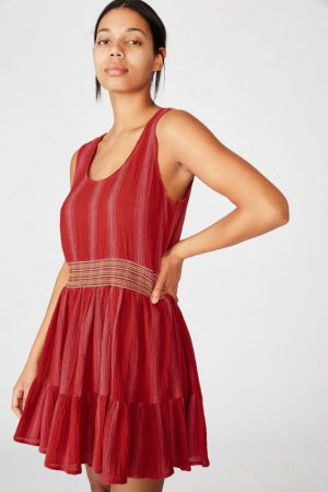 Cotton On Mini | Womens Woven Bronwyn Sleeveless Tiered Mini Dress Lola Stripe Goji Berry/Stitch