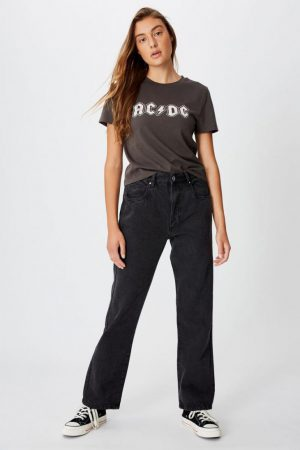 Cotton On Music   Womens Essential Band T Shirt Lcn Per Acdc Logo/Slate Grey