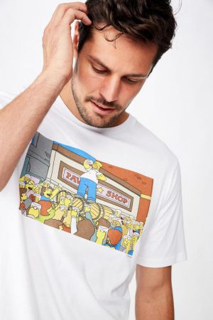 Cotton On Pop Culture | Mens Tbar Collab Movie And Tv T-Shirt Lcn Fox White/Simpsons – Lifes Problems