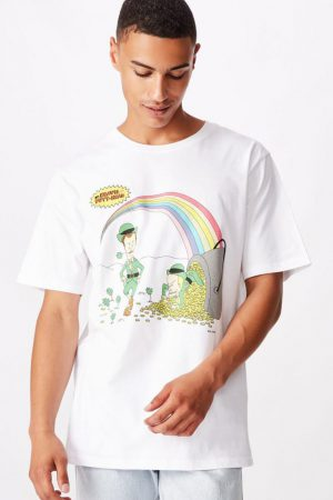 Cotton On Pop Culture   Mens Tbar Collab Movie And Tv T-Shirt Lcn Mtv Sk8 White/Beavis And Butthead – Rainbows