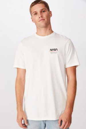 Cotton On Pop Culture | Mens Tbar Collab Pop Culture T-Shirt Lcn Nas Vintage White/Nasa – Mars