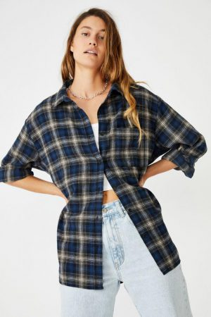 Cotton On Shirts & Blouses | Womens Boyfriend Shirt Blue Check