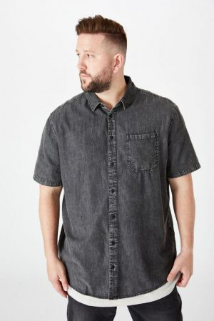 Cotton On Short Sleeve | Mens 91 Short Sleeve Shirt Black Acid