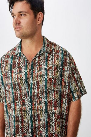 Cotton On Short Sleeve | Mens 91 Short Sleeve Shirt Block Stripe Tribal