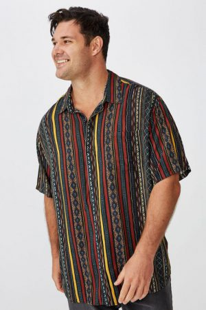 Cotton On Short Sleeve | Mens 91 Short Sleeve Shirt Multi Color Vertical Tribal