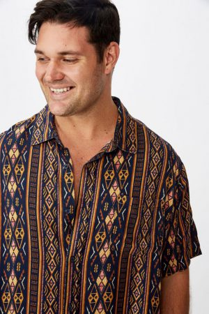 Cotton On Short Sleeve | Mens 91 Short Sleeve Shirt Navy Vert Tribal