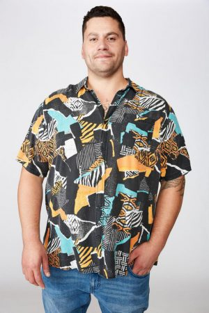 Cotton On Short Sleeve | Mens 91 Short Sleeve Shirt Smashed Tribal