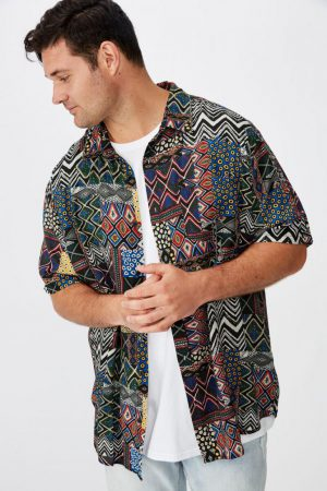 Cotton On Short Sleeve | Mens 91 Short Sleeve Shirt Statement Tribal