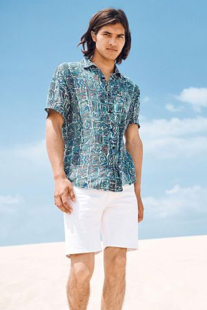 Cotton On Short Sleeve | Mens 91 Short Sleeve Shirt Static Tribal