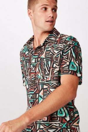Cotton On Short Sleeve | Mens 91 Short Sleeve Shirt Tribal Pop