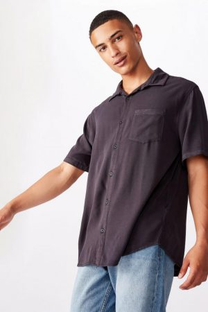 Cotton On Short Sleeve | Mens 91 Short Sleeve Shirt Washed Black