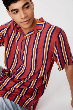 Cotton On Short Sleeve | Mens Festival Shirt Red Multi Stripe