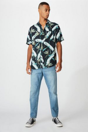 Cotton On Short Sleeve | Mens Short Sleeve Resort Shirt Black Bird Floral