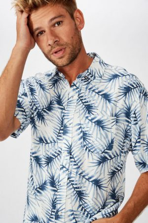 Cotton On Short Sleeve | Mens Short Sleeve Resort Shirt White Leafy Fronds
