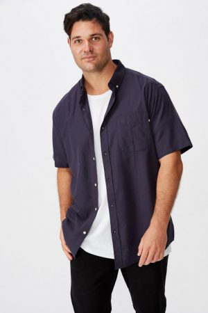 Cotton On Short Sleeve | Mens Vintage Prep Short Sleeve Shirt Navy Oxford