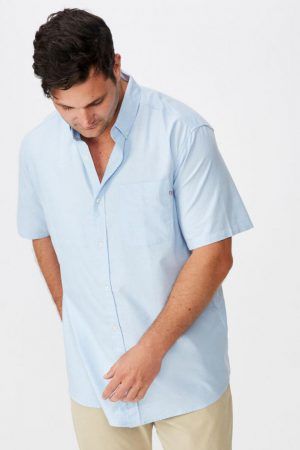 Cotton On Short Sleeve | Mens Vintage Prep Short Sleeve Shirt Sky Blue Oxford