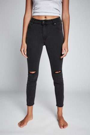 Cotton On Skinny | Womens Mid Rise Cropped Skinny Jean Washed Black Rip Knee