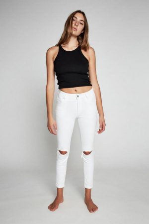 Cotton On Skinny | Womens Mid Rise Cropped Skinny Jean White Rips