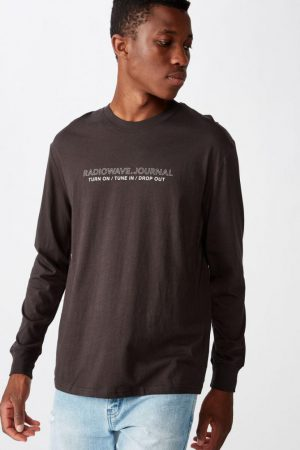 Cotton On Slogan | Mens Tbar Long Sleeve Washed Black/Tune In Drop Out