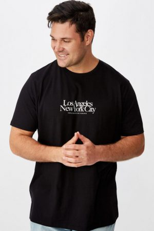 Cotton On Slogan | Mens Tbar Tee Black/La Ny Collective Chaos