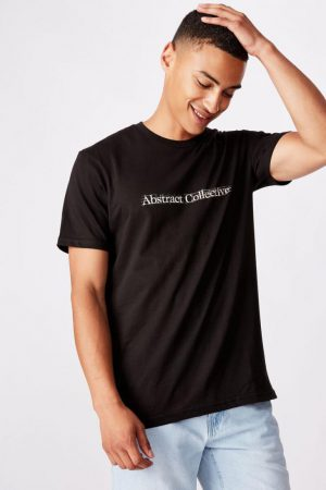 Cotton On Slogan | Mens Tbar Text T-Shirt Black/Abstract Collective Sketch