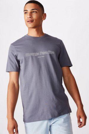 Cotton On Slogan | Mens Tbar Text T-Shirt Dusty Denim/Strange Paradise Sketch