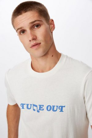 Cotton On Slogan | Mens Tbar Text T-Shirt Sk8 Vintage White/Tune Out