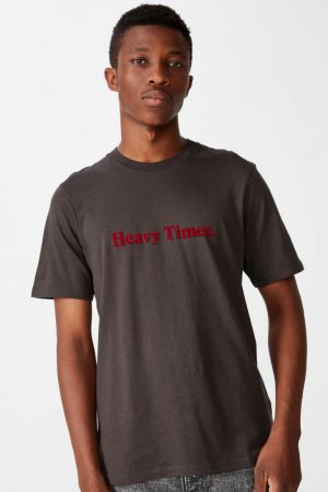 Cotton On Slogan | Mens Tbar Text T-Shirt Sk8 Washed Black/Heavy Times