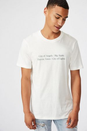Cotton On Slogan | Mens Tbar Text T-Shirt Vintage White/City Of Lights