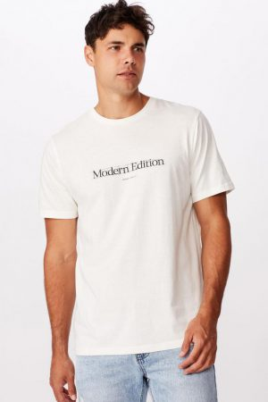 Cotton On Slogan | Mens Tbar Text T-Shirt Vintage White/Modern Edition Sketch