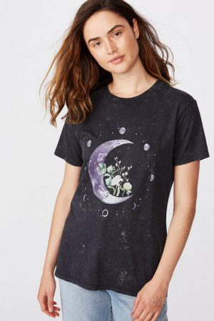 Cotton On Slogan | Womens Classic Arts T Shirt Moon Flower/Black