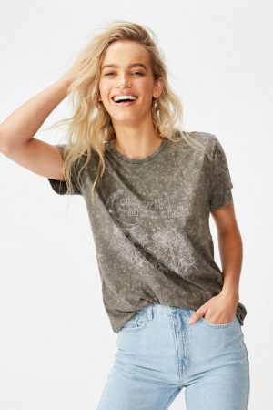 Cotton On Slogan | Womens Classic Arts T Shirt Stay Wild/Slate Grey