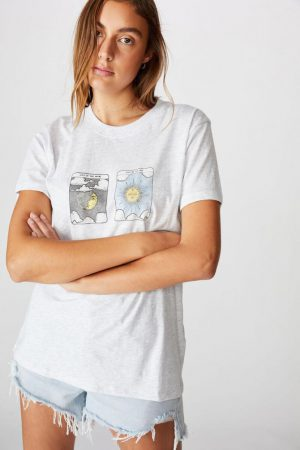 Cotton On Slogan | Womens Classic Arts T Shirt Sun Moon Tarot/Silver Marle