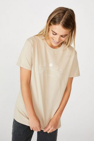 Cotton On Slogan | Womens Classic Arts T Shirt Trust The Universe/Latte