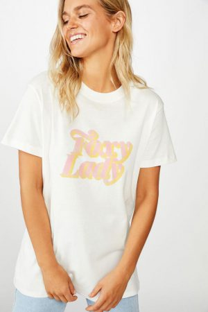 Cotton On Slogan | Womens Classic Iwd T Shirt Foxy Lady/Gardenia
