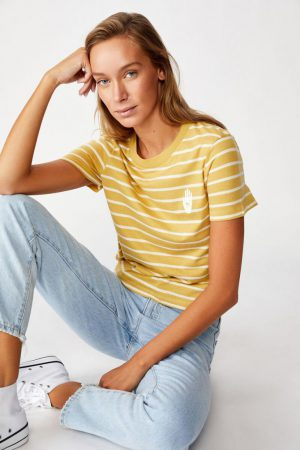 Cotton On Slogan | Womens Essential Art T Shirt Palm Cocoon Marle/Gardenia Stripe