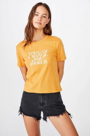 Cotton On Slogan | Womens Essential Slogan T Shirt Change The World/Spruce Yellow