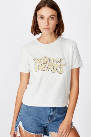 Cotton On Slogan | Womens Essential Slogan T Shirt Wild At Heart/Oatmeal Marle