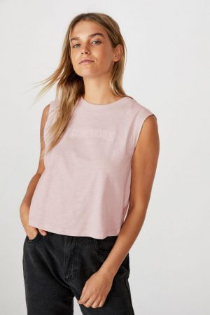 Cotton On Slogan | Womens Marley Graphic Muscle Tank New York/Windsome Orchid