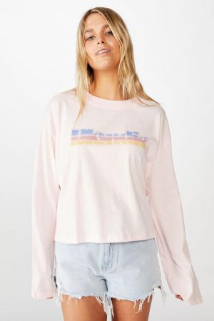 Cotton On Slogan | Womens Relaxed Fit Graphic Long Sleeve Lcn Eas Blondie Ombre/Cherry Blossom
