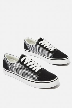 Cotton On Sneakers | Mens Axell Skate Shoe Black/Houndstooth