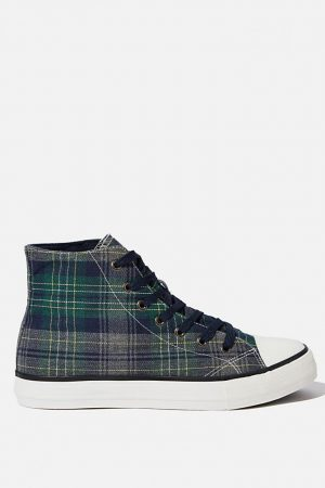 Cotton On Sneakers | Mens Tyler Hi-Top Navy/Green Plaid