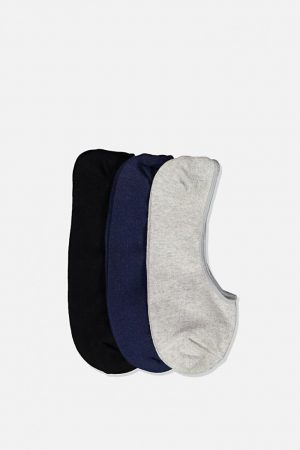 Cotton On Socks | Mens Invisible Socks 3 Pack Grey Marle/Navy/Black