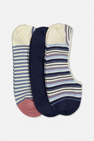 Cotton On Socks | Mens Invisible Socks 3 Pack Multi Stripe/Navy/Blue