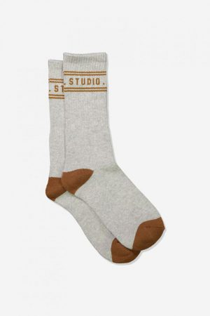 Cotton On Socks | Mens Single Pack Active Socks Grey Marle/Camel Weekend Studio