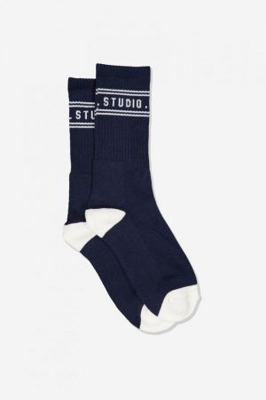 Cotton On Socks | Mens Single Pack Active Socks Navy/Off White Weekend Studio