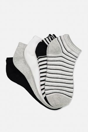 Cotton On Socks | Womens 5Pk Ankle Sock Black  Grey Marle Stripe