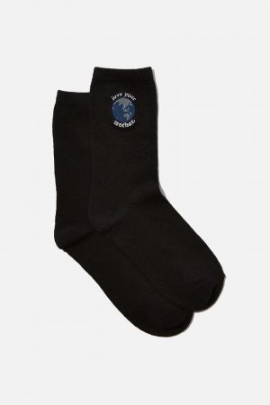 Cotton On Socks | Womens Carrie Crew Sock Black Mother Earth