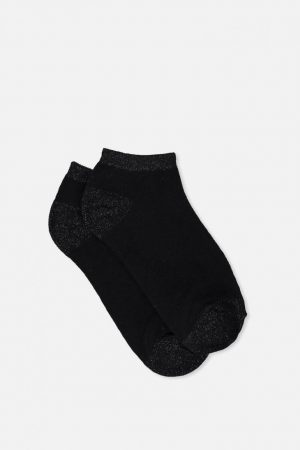 Cotton On Socks | Womens Get Shorty Ankle Sock Black Metallic Tipping