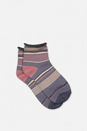 Cotton On Socks | Womens Roll Top Quarter Crew Sock Grisaille Mix Stripe